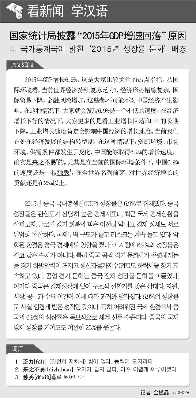 """[看新闻学汉语] 国家统计局披露""""2015年GDP增速回落""""原因"""