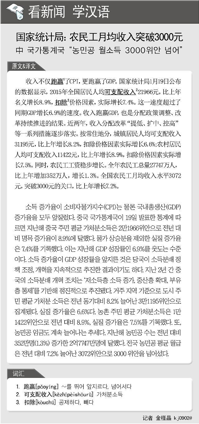 [看新闻学汉语] 国家统计局:农民工月均收入突破3000元