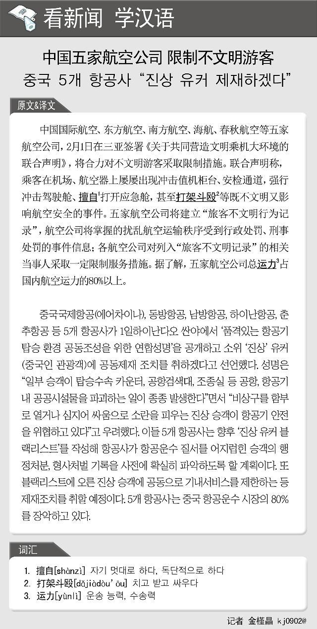 [看新闻学汉语] 中国五家航空公司 限制不文明游客