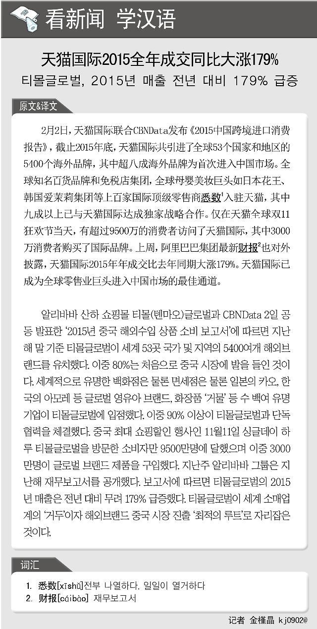 [看新闻学汉语] 天猫国际2015全年成交同比大涨179%