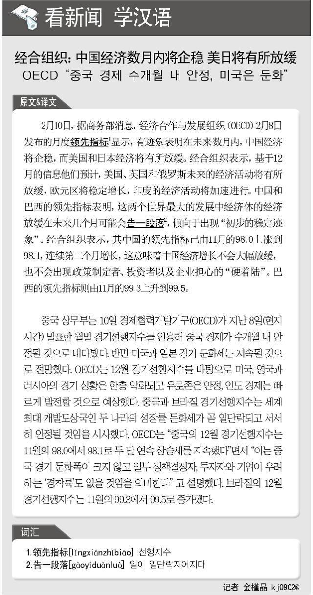 [看新闻学汉语] 经合组织:中国经济数月内将企稳 美日将有所放缓