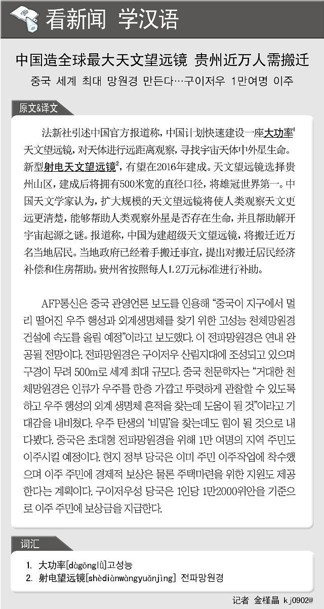[看新闻学汉语] 中国造全球最大天文望远镜 贵州近万人需搬迁