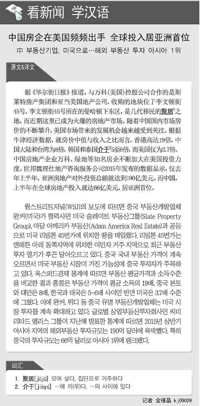 [看新闻学汉语] 中国房企在美国频频出手 全球投入居亚洲首位