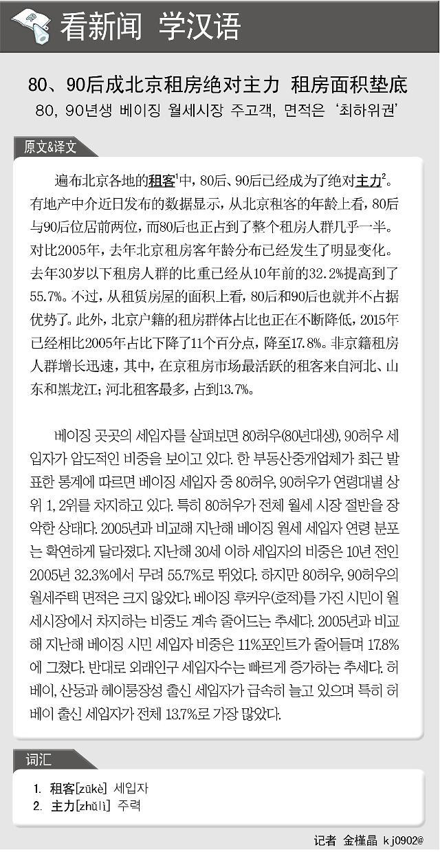 [看新闻学汉语]80、90后成北京租房绝对主力 租房面积垫底