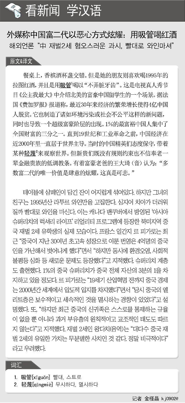 [看新闻学汉语] 外媒称中国富二代以恶心方式炫耀:用吸管喝红酒