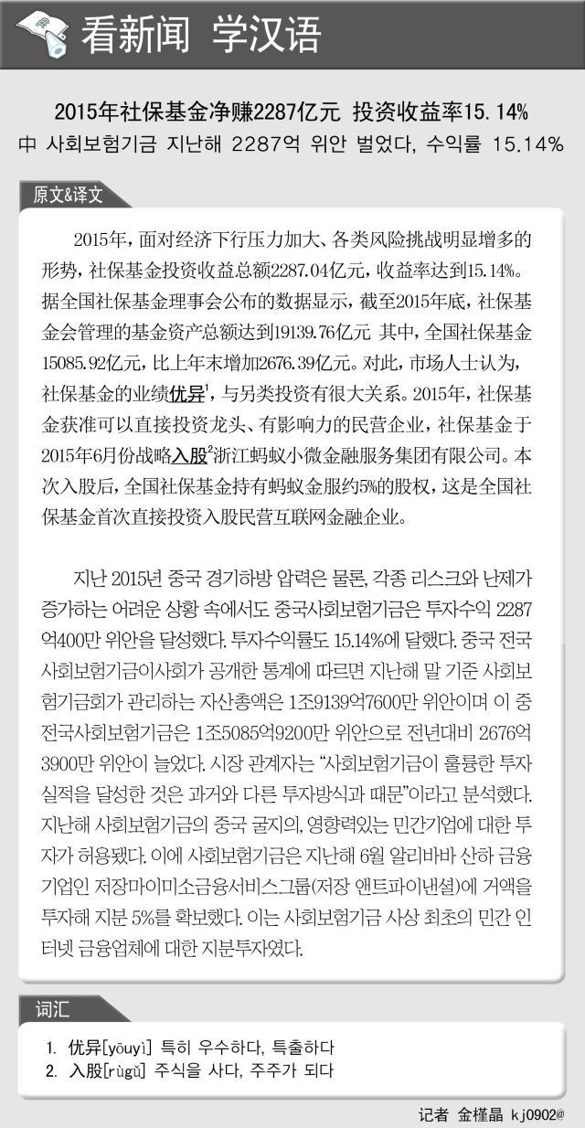 [看新闻学汉语] 2015年社保基金净赚2287亿元 投资收益率15.14%