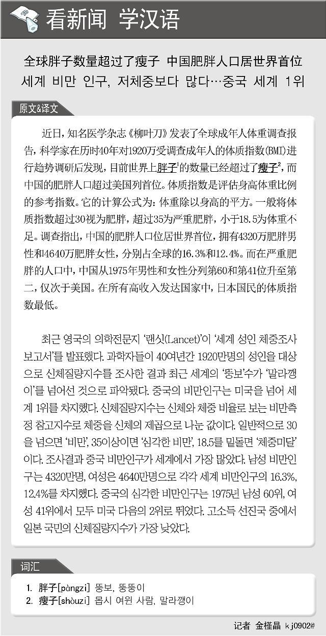[看新闻学汉语] 全球胖子数量超过了瘦子 中国肥胖人口居世界首位