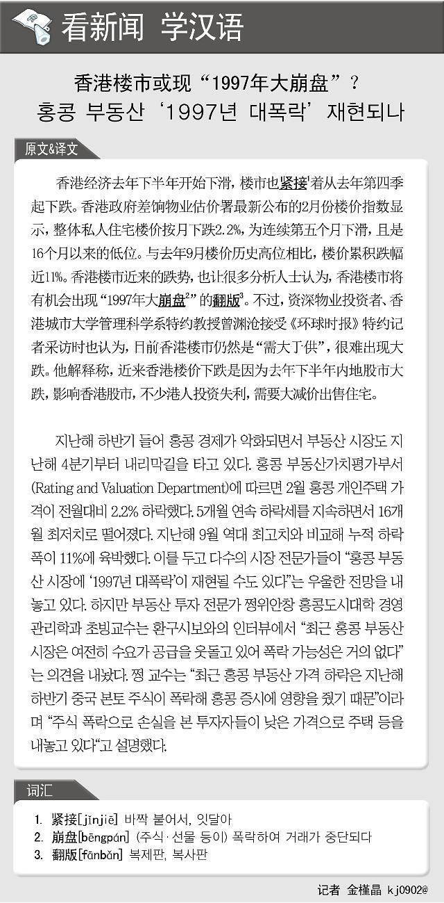 """[看新闻学汉语] 香港楼市或现""""1997年大崩盘""""?"""