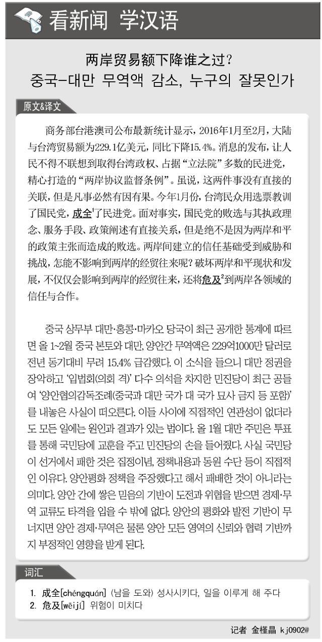 [看新闻学汉语] 两岸贸易额下降谁之过?