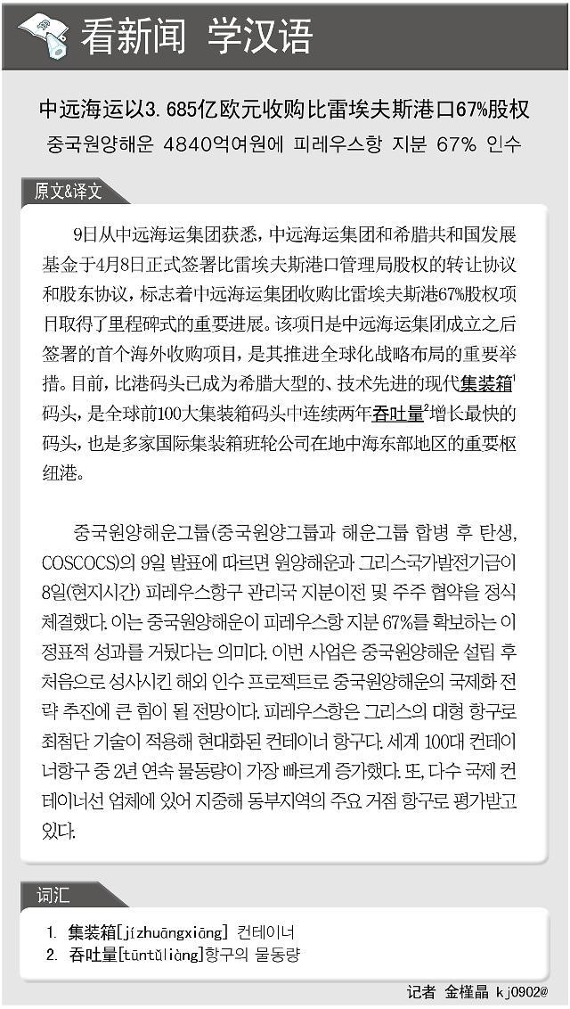 [看新闻学汉语] 中远海运以3.685亿欧元收购比雷埃夫斯港口67%股权