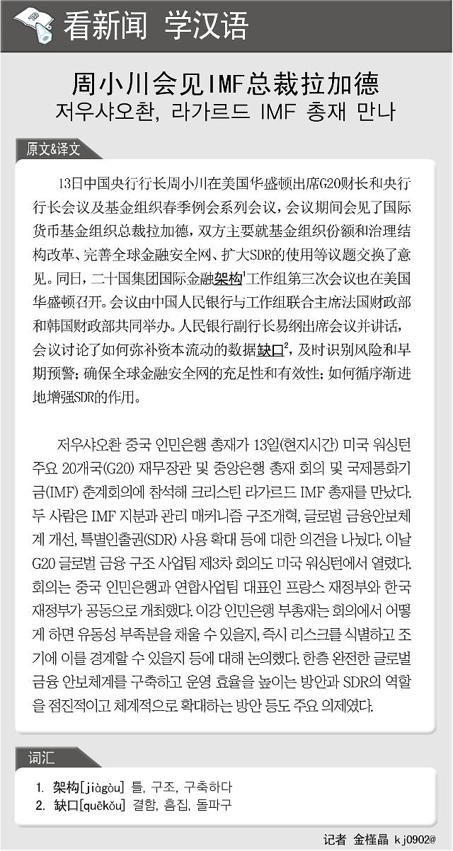 [看新闻学汉语] 周小川会见IMF总裁拉加德