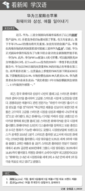 [看新闻学汉语] 华为三星阻击苹果