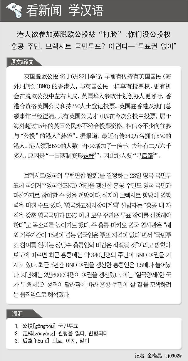 """[看新闻学汉语] 港人欲参加英脱欧公投被""""打脸"""":你们没公投权"""