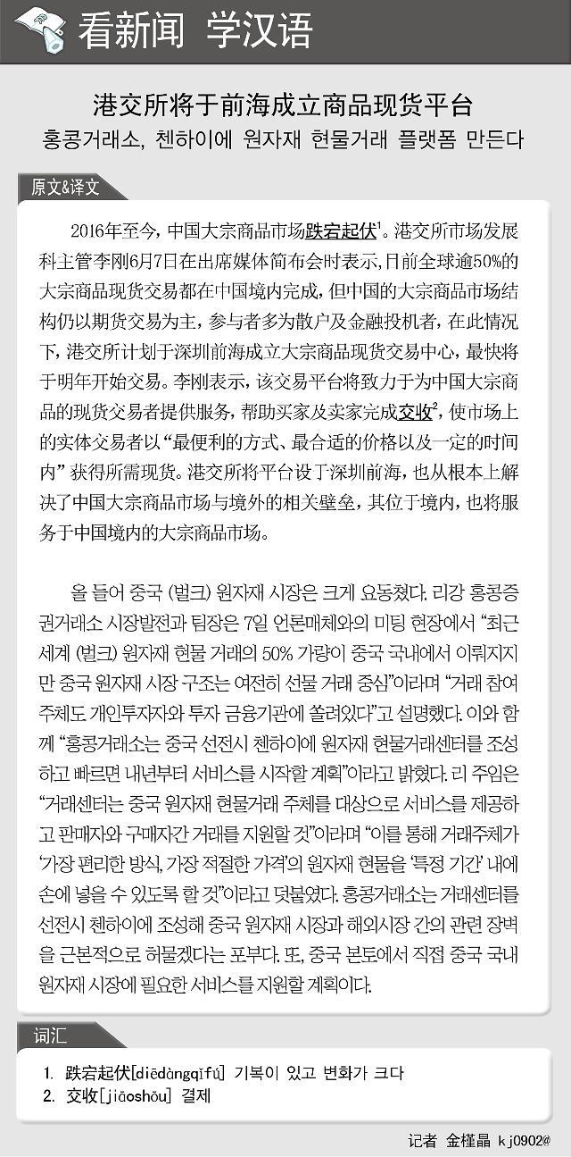 [看新闻学汉语] 港交所将于前海成立商品现货平台