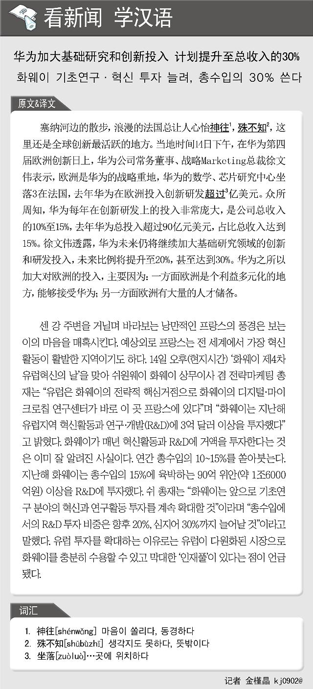 [看新闻学汉语] 华为加大基础研究和创新投入 计划提升至总收入的30%
