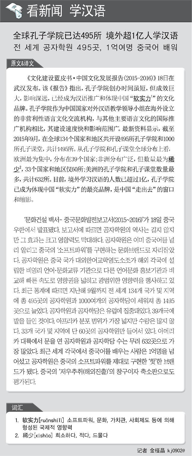 [看新闻学汉语] 全球孔子学院已达495所 境外超1亿人学汉语