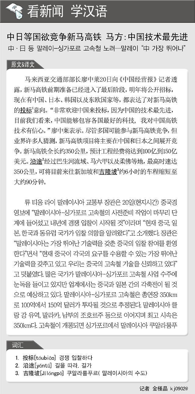 [看新闻学汉语] 中日等国欲竞争新马高铁 马方:中国技术最先进