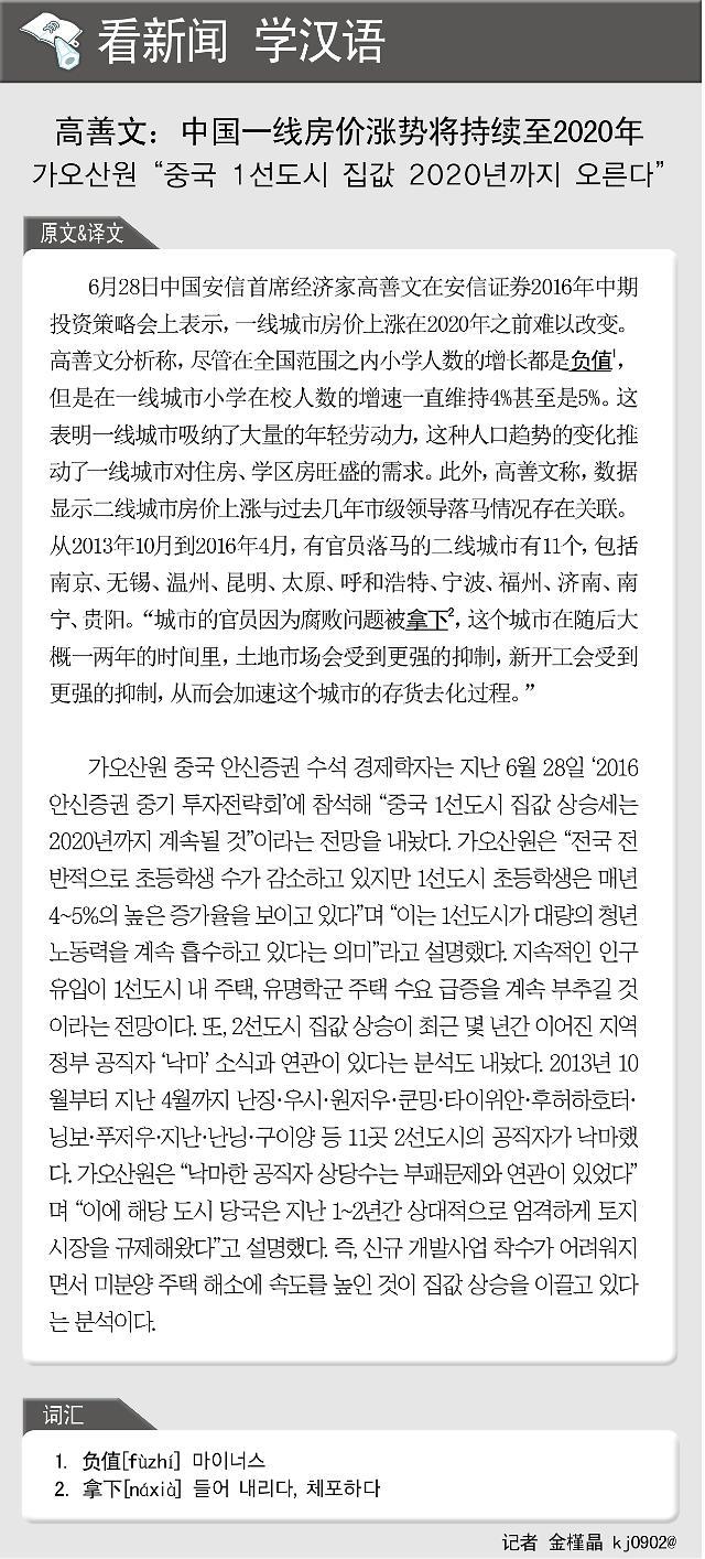 [看新闻学汉语] 高善文:中国一线房价涨势将持续至2020年