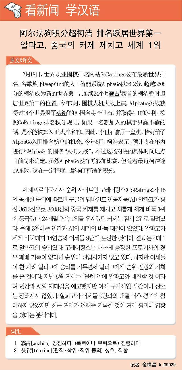 [看新闻学汉语] 阿尔法狗积分超柯洁 排名跃居世界第一