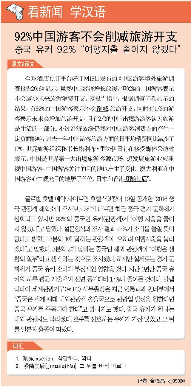 [看新闻学汉语] 92%中国游客不会削减旅游开支