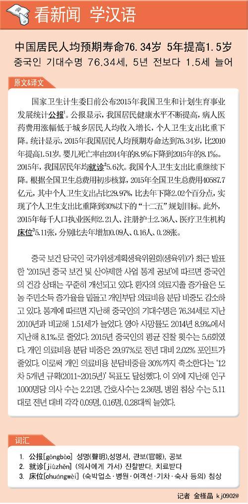 [看新闻学汉语] 中国居民人均预期寿命76.34岁 5年提高1.5岁