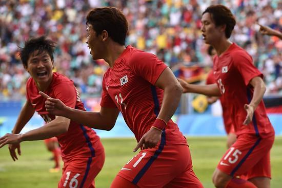 里约奥运韩国男足3比3战平德国