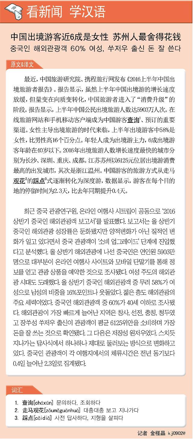 [看新闻学汉语] 中国出境游客近6成是女性 苏州人最舍得花钱