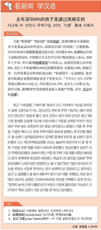 [看新闻学汉语]去年深圳45%的房子是通过离婚买的