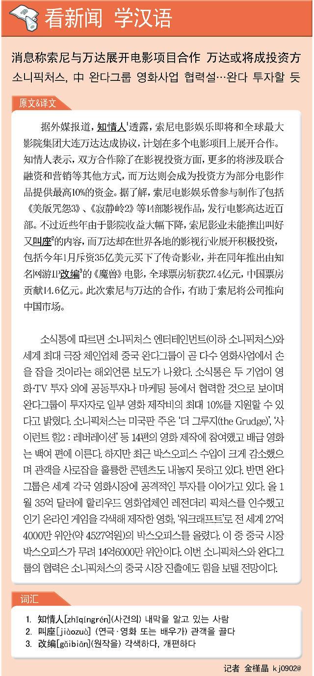 [看新闻学汉语] 消息称索尼与万达展开电影项目合作 万达或将成投资方