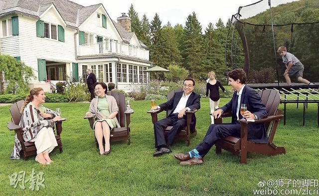 [영상중국] 트뤼도 만난 리커창, 총리 관저에서 '맥주 회동'