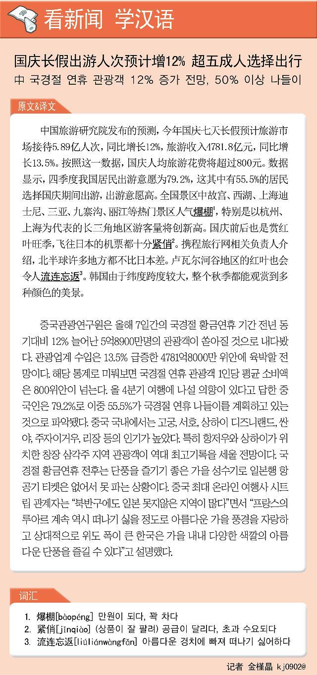 [看新闻学汉语] 国庆长假出游人次预计增12% 超五成人选择出行