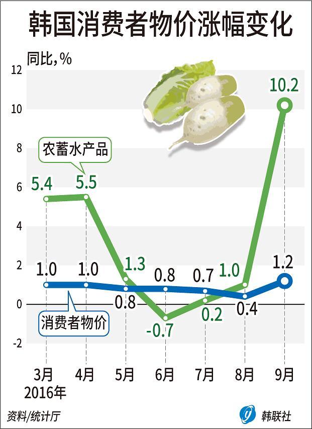 韩9月CPI同比上涨1.2% 创7个月新高