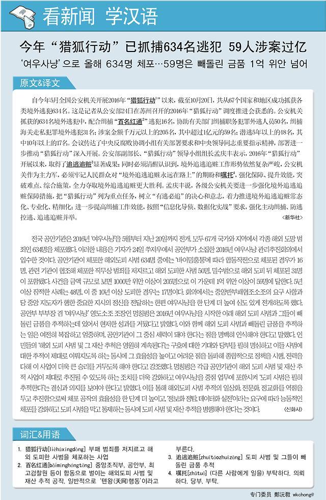 """[看新闻学汉语] 今年""""猎狐行动""""已抓捕634名逃犯 59人涉案过亿"""