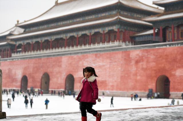 [영상중국] 흰눈에 뒤덮인 베이징 자금성