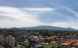 .[PHOTO] Rainbow cloud spotted in sky over Jeju island .