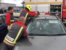 14-month-old baby in the UK has a blast getting rescued from car he locked himself in