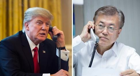<2017年总统大选>文在寅当选后与特朗普首次通话 商定尽早举行首脑会谈