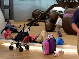 [GLOBAL PHOTO] Stranded travelers at Qatar international airport