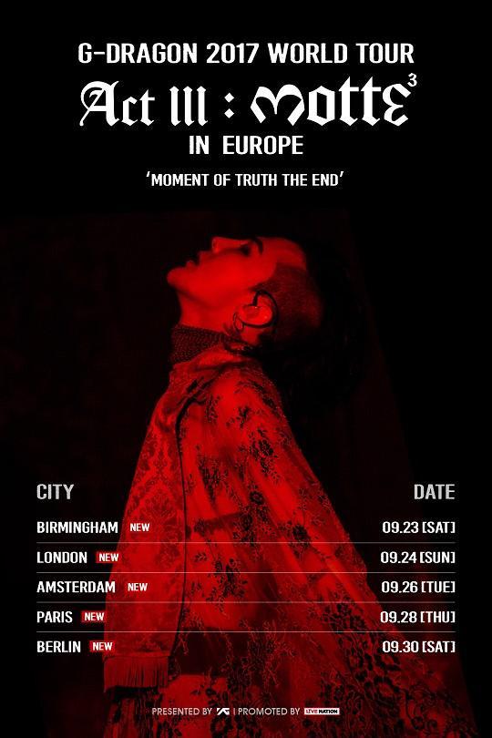 GD将首次举行欧洲巡回个唱 唱响伦敦巴黎柏林等城市