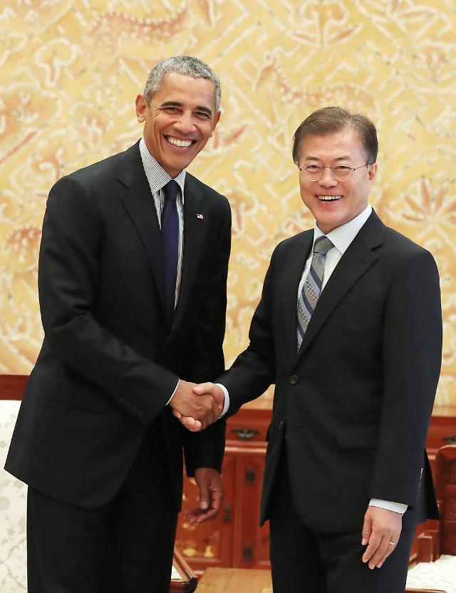 文在寅会见美国前总统奥巴马