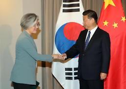 .习近平与韩国外交部长官康京和握手.