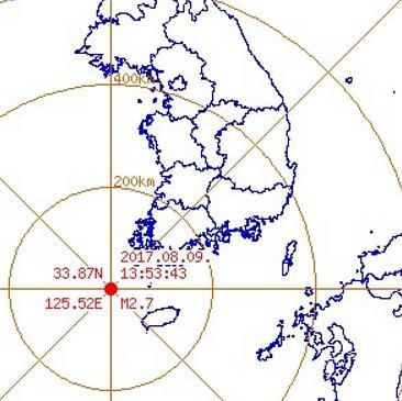 韩半岛西南海域发生2.7级地震