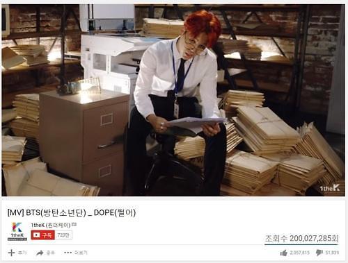BTS热曲《DOPE》MV播放量破2亿