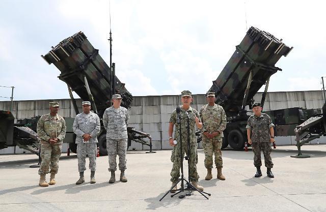 美军三长官22日在韩国乌山基地举行联合记者会