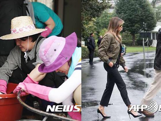 黑色高跟鞋VS粉色橡胶手套 韩美第一夫人救灾造型大PK