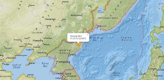 韩气象厅:朝鲜发生5.6级地震
