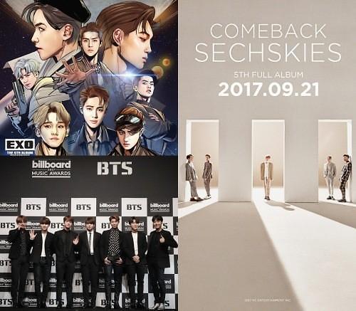 EXO、BTS、水晶男孩强势来袭 9月歌坛刮起强劲男风