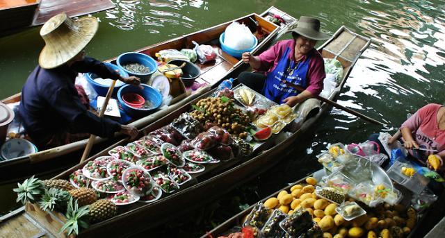[AJU VIDEO] 热带威尼斯:曼谷丹嫩沙多水上市场