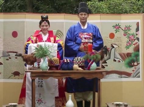 于晓光秋瓷炫穿越啦! 体验韩国传统婚礼尽显恩爱