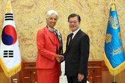 .文在寅会见国际货币基金组织总裁拉加德.